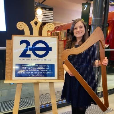 Singing harpist, Cerian, is enjoying a busy year - speak to her at Mercedes-Benz World!