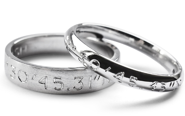 silver engraved commitment rings