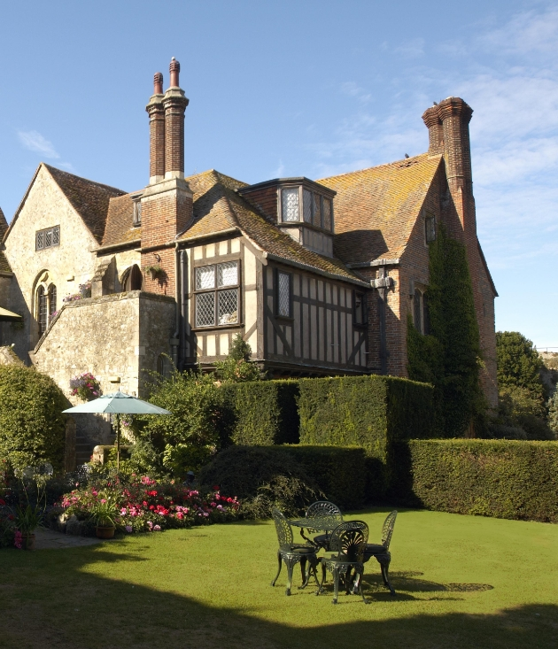 Amberley Castle Sussex grounds for afternoon tea