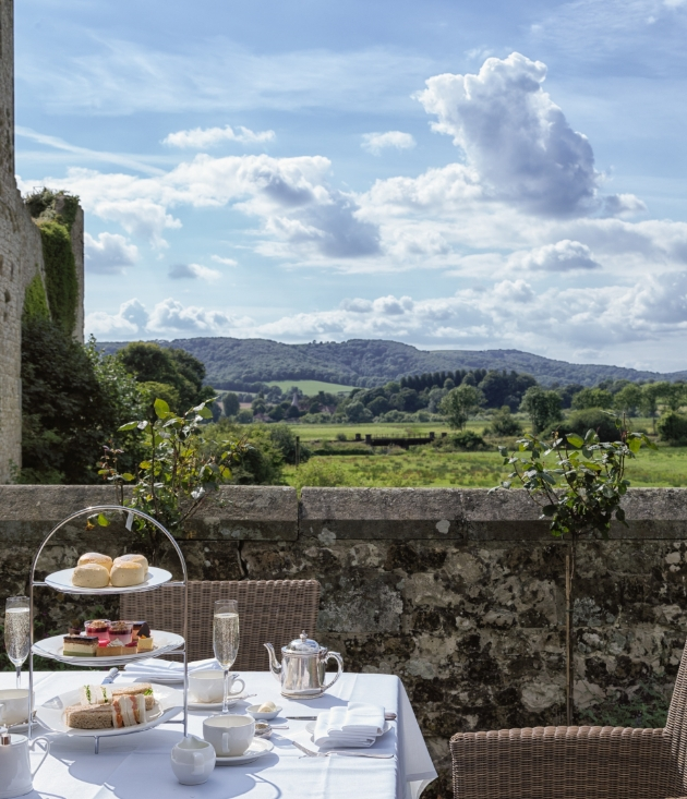 Amberley Castle Sussex, afternoon tea table with stunning views