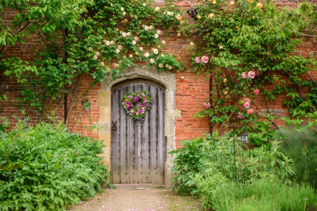 The Walled Garden, Cowdray Estate, images of the wooden door to the walled garden