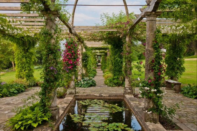 West Dean Gardens, Chichester, view of the rose arbour