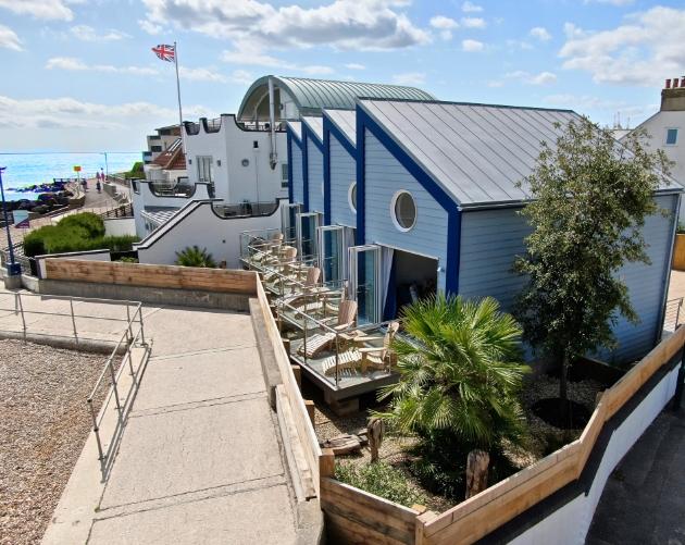 Exterior of beach hut accommodation