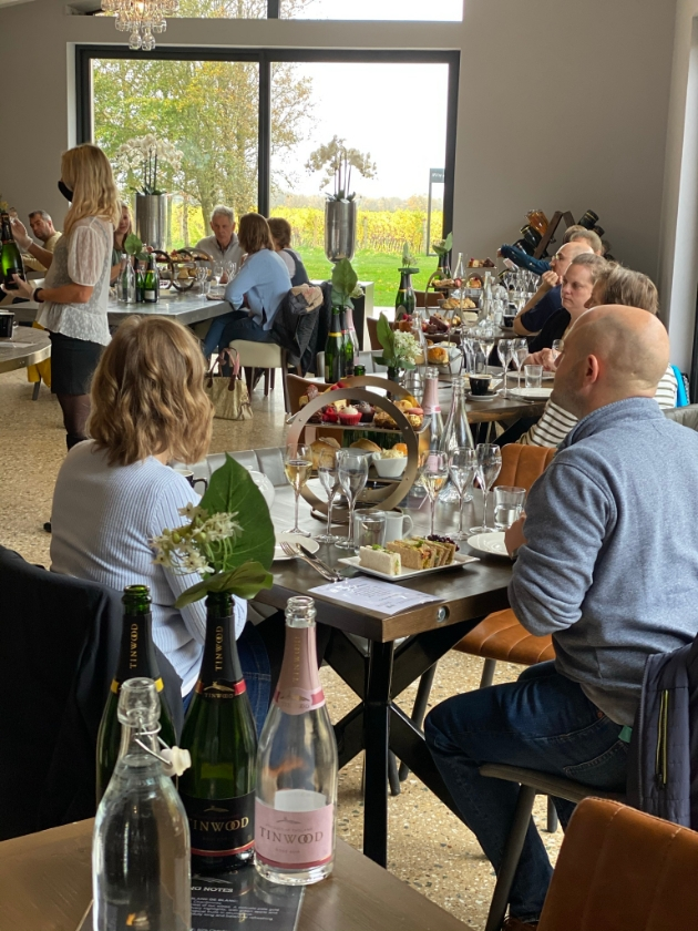 Restaurant at Tinwood Estate where guests are enjoying their afternoon teas