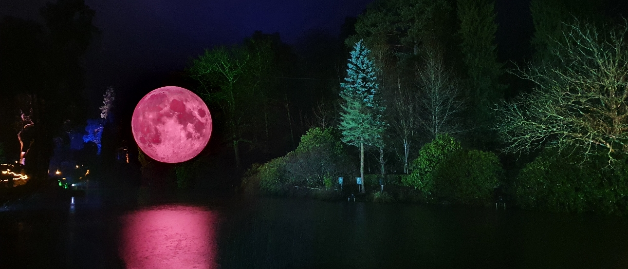 moon over the lake at leonardlee illuminated
