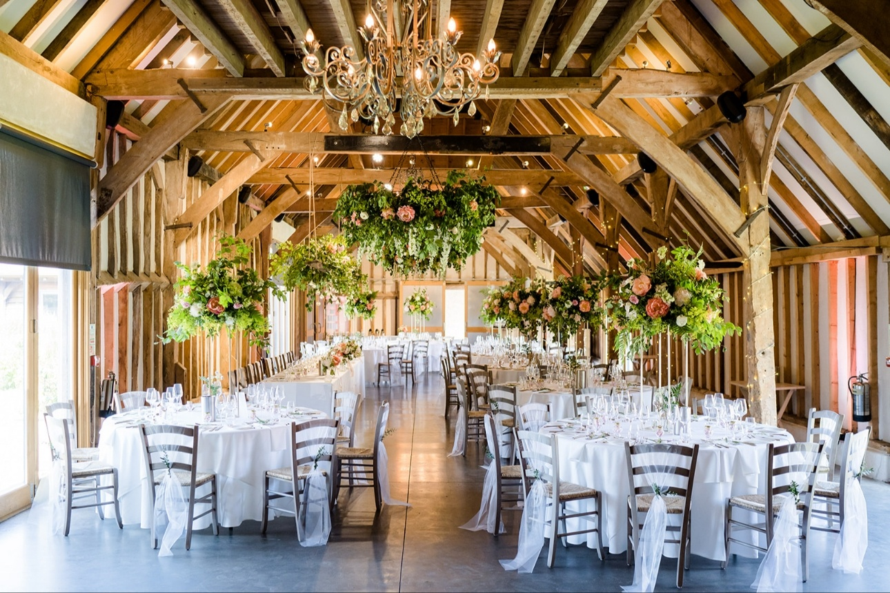 The Threshing Barn at Southend Barns beautifully decorated for a wedding
