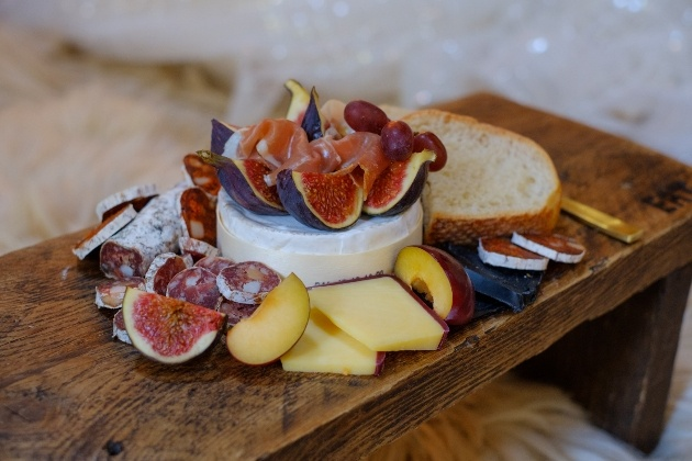 Wedding grazing platter with bread cheese and fruit