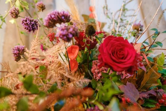 Rustic autumnal flower display