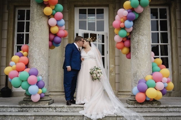 Venue decorated with colourful balloons