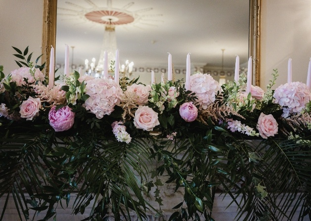 Floral arrangement on the mantelpiece