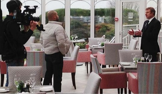Hydro Hotel manager Jonathan Owen being inerviewed for BBC One Show