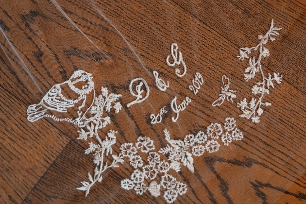 Embroidered customised veil with bird, initials and wedding date