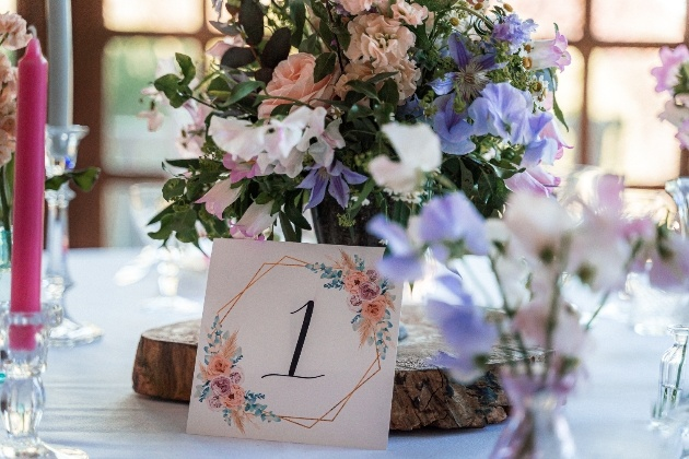 wedding centrepiece with sweet peas and english wildflowers