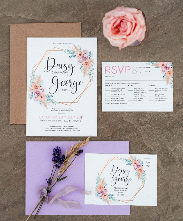 english widflower design wedding stationery suite