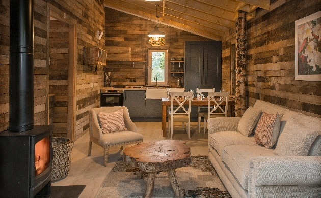 natural interior fire and sofas wooded walls