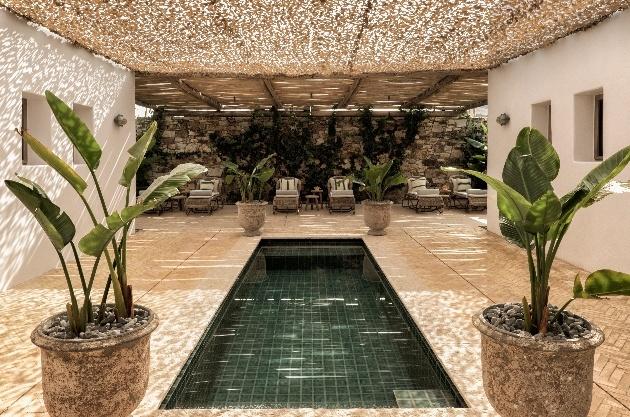 spa, plants, pool, chairs