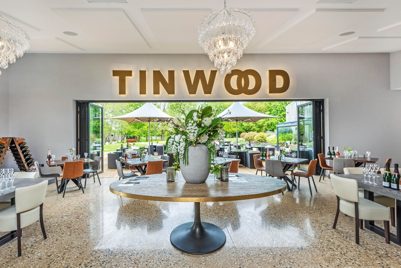 Tinwood Estate restaurant with bi-fold doors and chandeliers