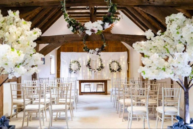 Weald & Downland Living Museum Cawley Barn ready for a wedding