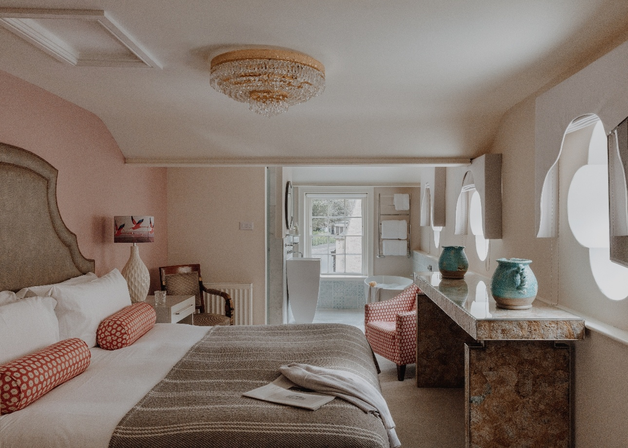 bedroom suite white with blush pink styling