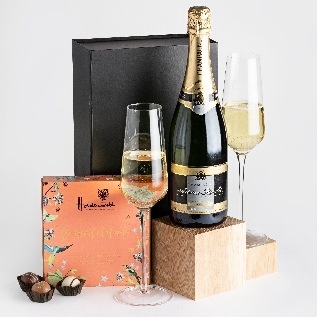 gift box of champagne and chocolates