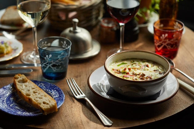 Delicious looking soup served at the new The Pig in the South Downs